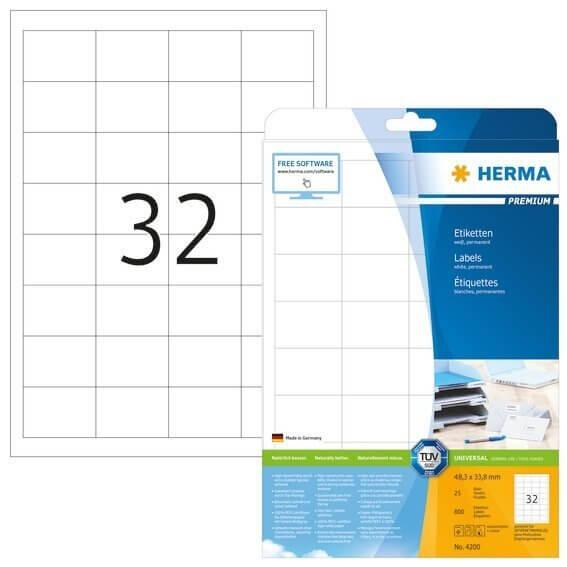 HERMA 4200 Etiketten Premium A4 48,3x33,8 mm weiß Papier matt 800 Stück