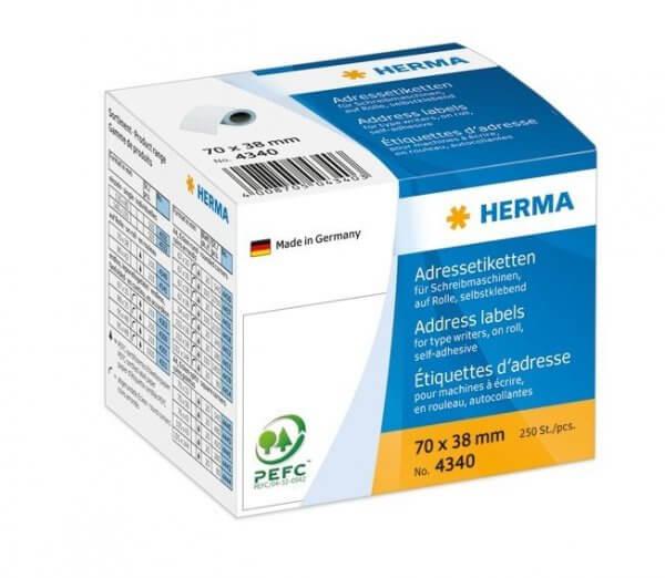 HERMA 4340 Adressetiketten für Schreibmaschinen auf Rollen 70x38 mm weiß Papier matt 250 Stück