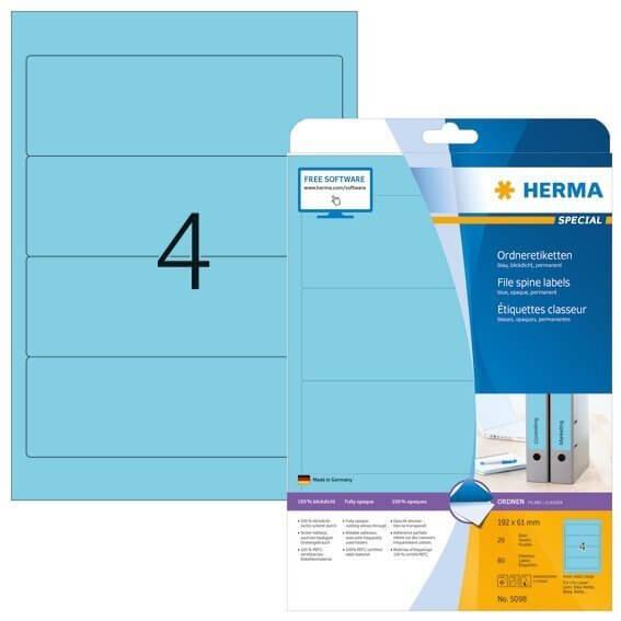 HERMA 5098 Ordneretiketten A4 192x61 mm blau Papier matt blickdicht 80 Stück