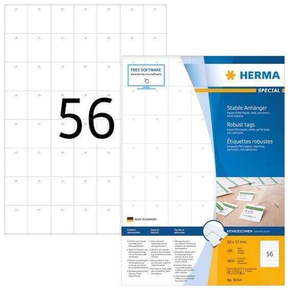 HERMA 8044 Stabile Anhänger A4 30x37 mm weiß Papier/Folie/Papier perforiert nicht klebend 5600 Stück