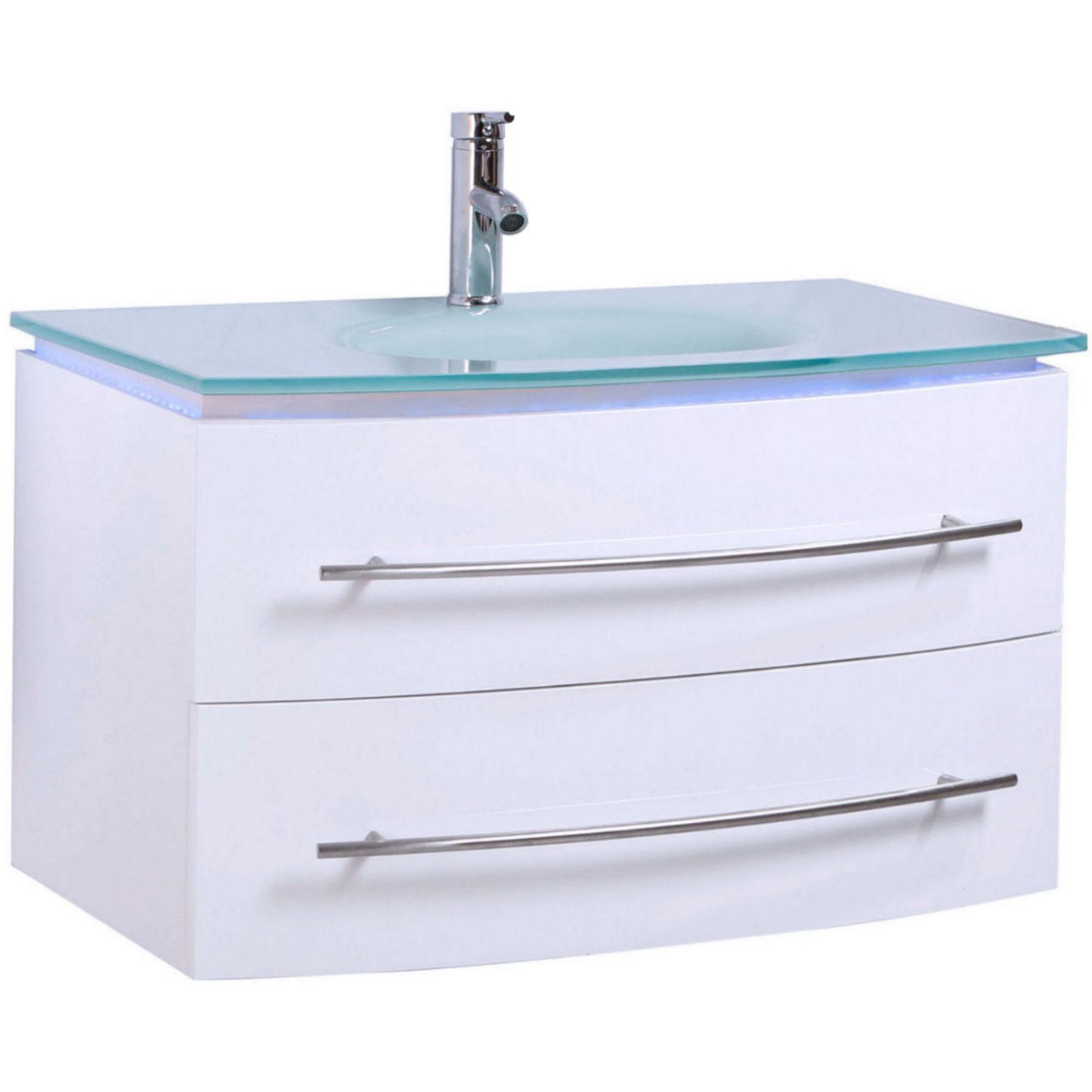 Bevorzugt Schick designtes Badmöbel Set von Midori in Weiß Hochglanz CN35