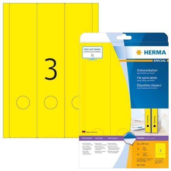 HERMA 5136 Ordneretiketten A4 61x297 mm gelb Papier matt blickdicht 60 Stück