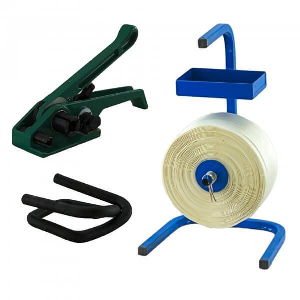 Umreifungsset 19 mm Textil gewebt Abroller Bandspanner Metallklemmen phosphatiert