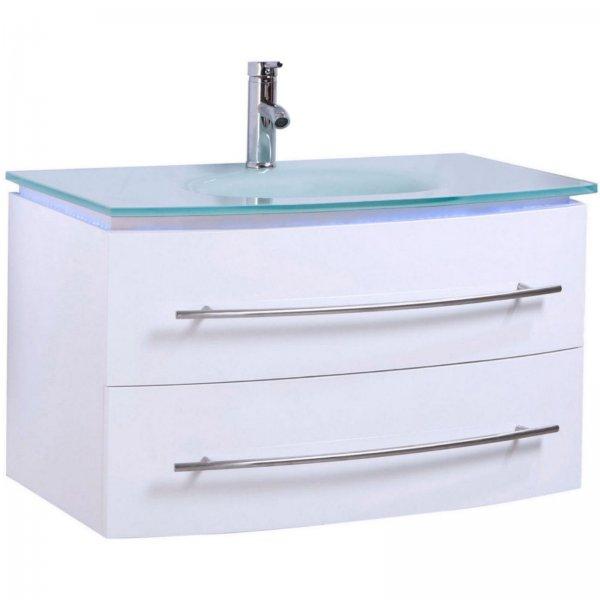 Badmöbel Set Unterschrank Waschtisch Weiß Hochglanz 70 cm