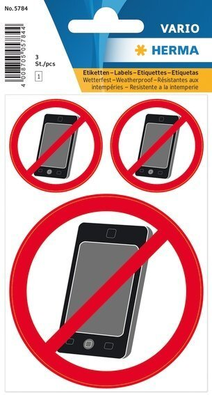 HERMA 5784 Hinweisetiketten Kein Handy wetterfest 30 Stück
