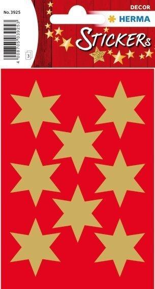 HERMA 3925 10x Sticker DECOR Sterne 6-zackig gold Ø 33 mm