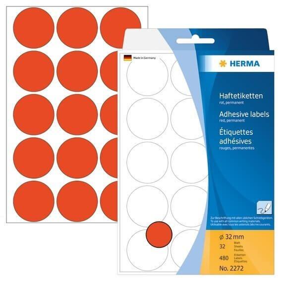 HERMA 2272 Vielzwecketiketten/Farbpunkte Ø 32 mm rund Papier matt Handbeschriftung 480 Stück Rot