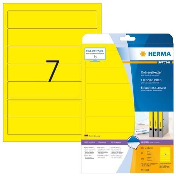 HERMA 5091 Ordneretiketten A4 192x38 mm gelb Papier matt blickdicht 140 Stück
