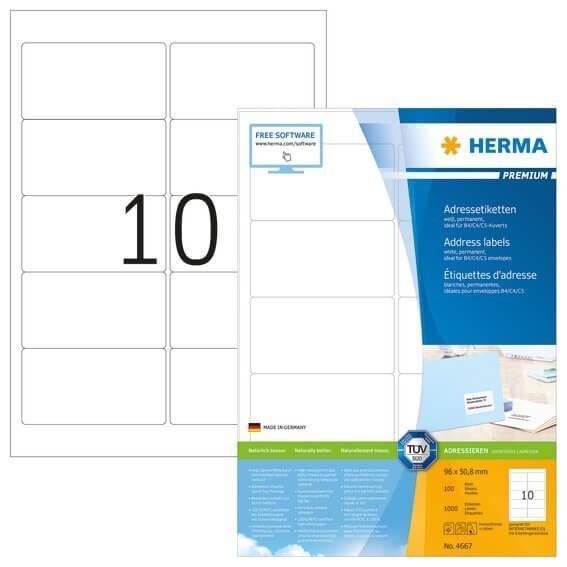 HERMA 4667 Adressetiketten Premium A4 96x508 mm weiß Papier matt 1000 Stück
