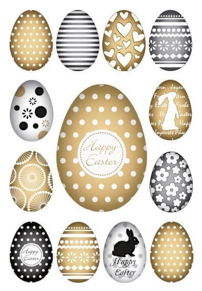 HERMA 1726 10 x Sticker DECOR Happy Easter Goldeier