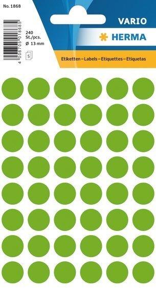 HERMA 1868 Vielzwecketiketten Ø 13 mm rund Papier matt 2400 Stück Leuchtgrün
