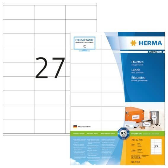 HERMA 4450 Etiketten Premium A4 70x32 mm weiß Papier matt 2700 Stück