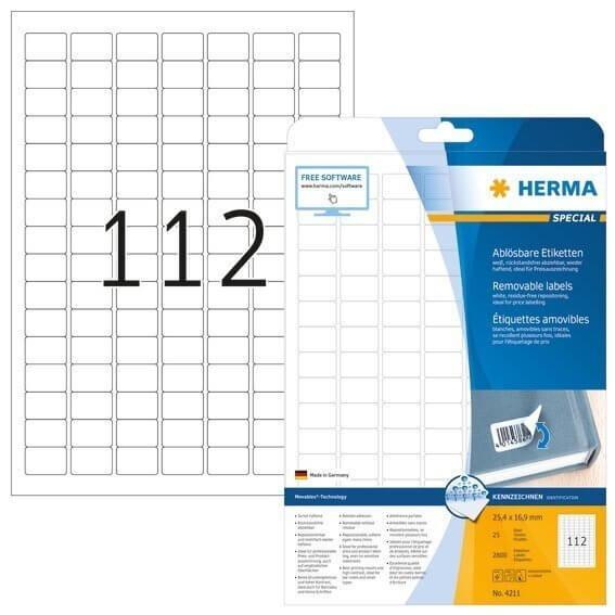 HERMA 4211 Ablösbare Etiketten A4 25,4x16,9 mm weiß Movables/ablösbar Papier matt 2800 Stück