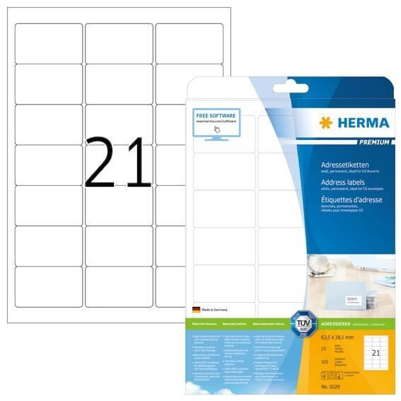 HERMA 5029 Adressetiketten Premium A4 635x381 mm weiß Papier matt 525 Stück