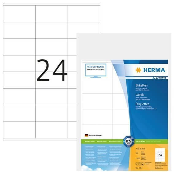 HERMA 4414 Etiketten Premium A4 70x36 mm weiß Papier matt 12000 Stück