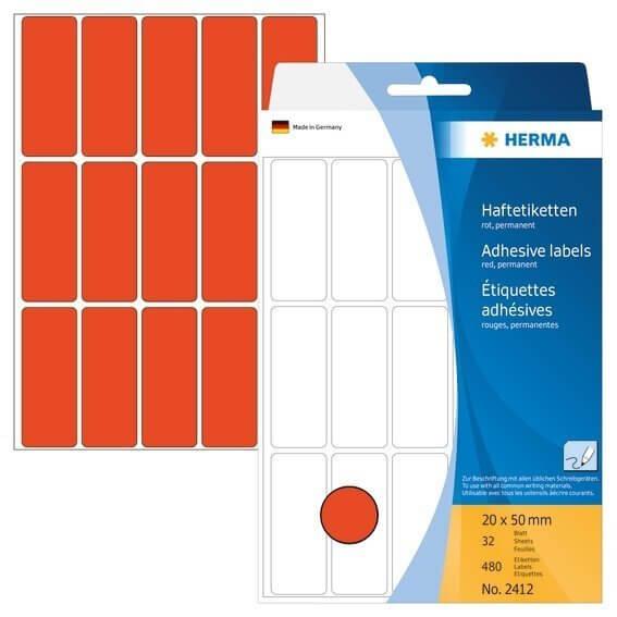 HERMA 2412 Vielzwecketiketten 20 x 50 mm Papier matt Handbeschriftung 480 Stück Rot