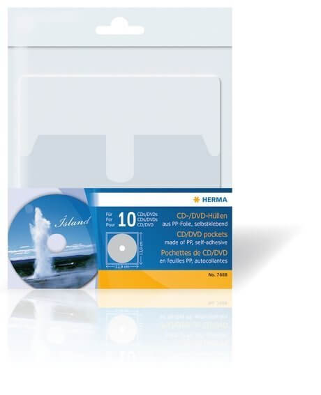 HERMA 7688 CD/DVD-Hüllen 129x130 mm 10 Hüllen