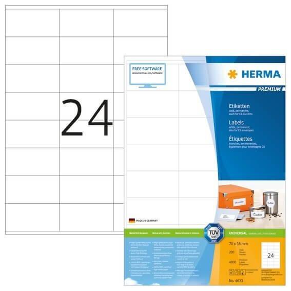 HERMA 4633 Etiketten Premium A4 70x36 mm weiß Papier matt 4800 Stück