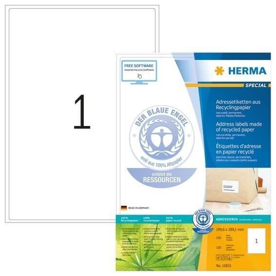 HERMA 10831 Adressetiketten A4 1996x2891 mm weiß Recyclingpapier matt Blauer Engel 100 Stück