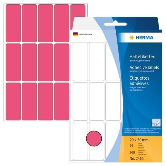 HERMA 2416 Vielzwecketiketten 20 x 50 mm Papier matt Handbeschriftung 360 Stück Leuchtrot