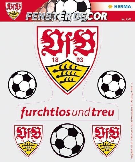 HERMA 1992 Fensterdecor VfB 25 x 35 cm Logo Bälle