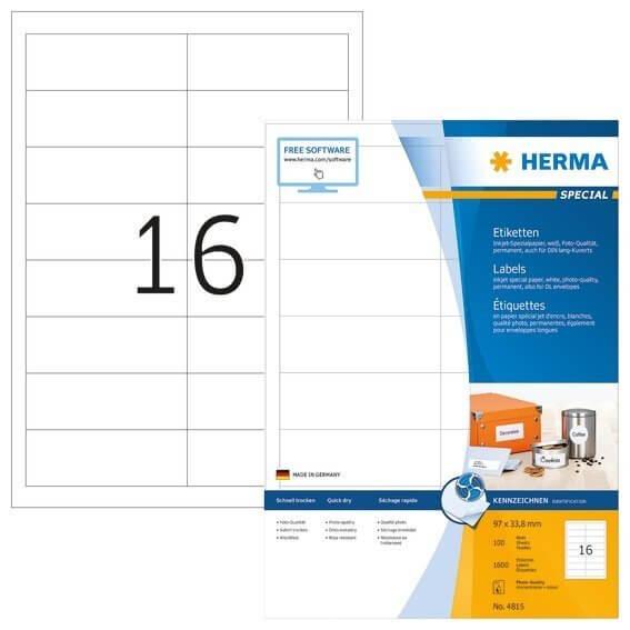 HERMA 4815 Inkjet-Etiketten A4 97x338 mm weiß Papier matt 1600 Stück