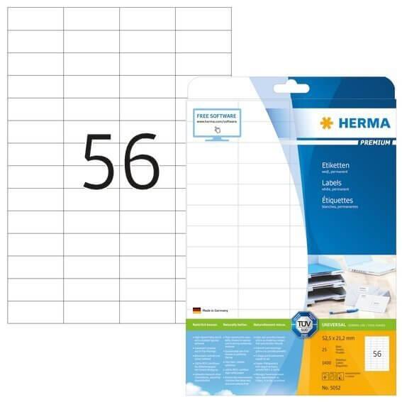 HERMA 5052 Etiketten Premium A4 525x212 mm weiß Papier matt 1400 Stück