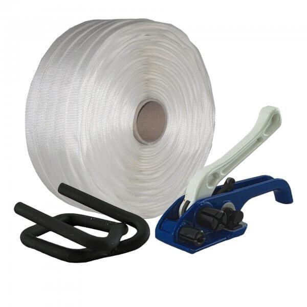 Umreifungsset 25 mm Textil gewebt Bandspanner Metallklemmen phosphatiert