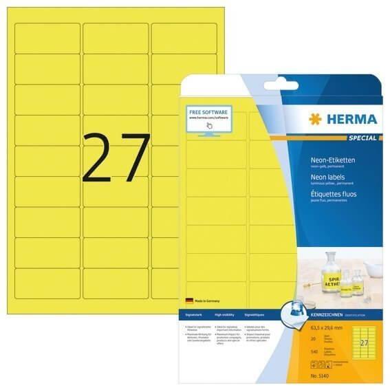 HERMA 5140 Neonetiketten A4 635x296 mm neon-gelb Papier matt 540 Stück