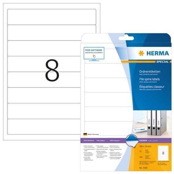 HERMA 5160 Ordneretiketten A4 192x34 mm weiß Papier matt blickdicht 200 Stück