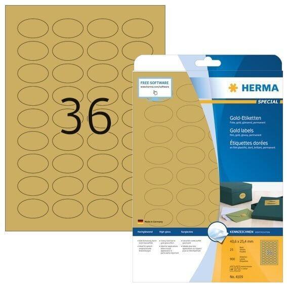 HERMA 4109 Etiketten A4 40,6x25,4 mm gold oval Folie glänzend 900 Stück
