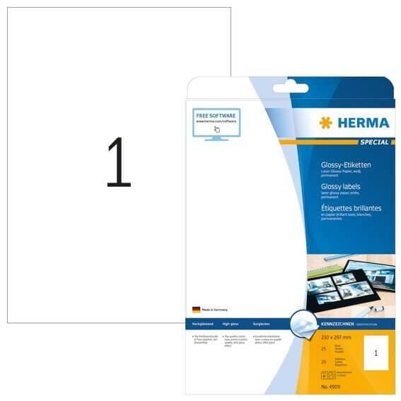 HERMA 4909 Etiketten A4 210x297 mm weiß Papier glänzend 25 Stück