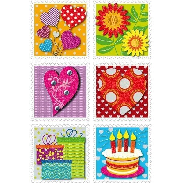 HERMA 3659 10x Sticker MAGIC Briefmarken10x Sticker 3-D Papier