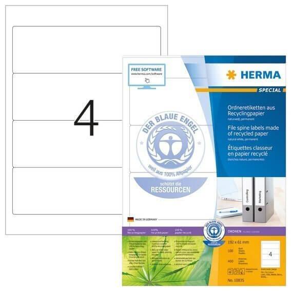 HERMA 10835 Ordneretiketten A4 192x61 mm weiß Recyclingpapier matt Blauer Engel 400 Stück
