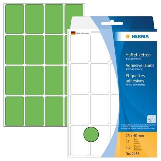 HERMA 2455 Vielzwecketiketten 25 x 40 mm Papier matt Handbeschriftung 512 Stück Grün