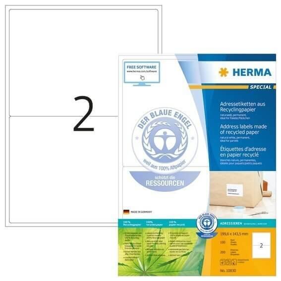 HERMA 10830 Adressetiketten A4 1996x1435 mm weiß Recyclingpapier matt Blauer Engel 200 Stück
