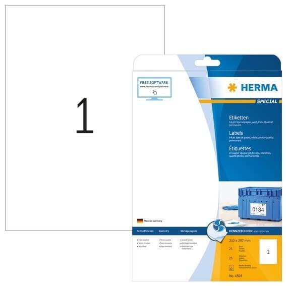 HERMA 4824 Inkjet-Etiketten A4 210x297 mm weiß Papier matt 25 Stück