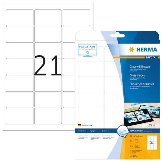 HERMA 4904 Etiketten A4 635x381 mm weiß Papier glänzend 525 Stück