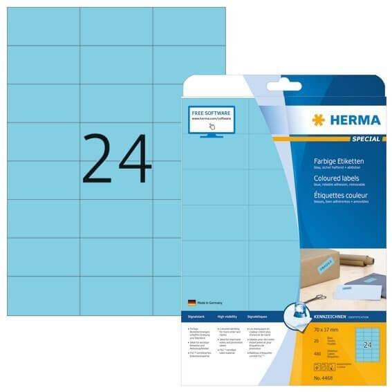 HERMA 4468 Farbige Etiketten A4 70x37 mm blau ablösbar Papier matt 480 Stück