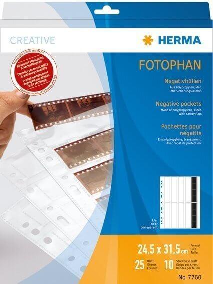 HERMA 7760 Negativhüllen transparent für 10 x 4 Streifen 25 Stück