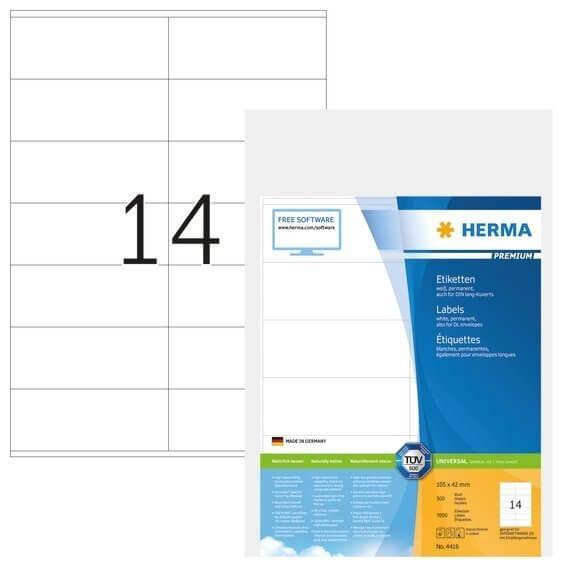 HERMA 4416 Etiketten Premium A4 105x42 mm weiß Papier matt 7000 Stück
