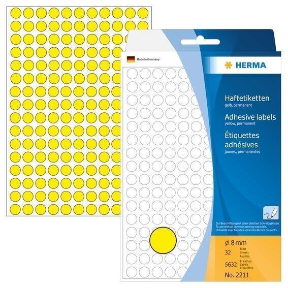 HERMA 2211 Vielzwecketiketten/Farbpunkte Ø 8 mm rund Papier matt Handbeschriftung 5632 Stück Gelb