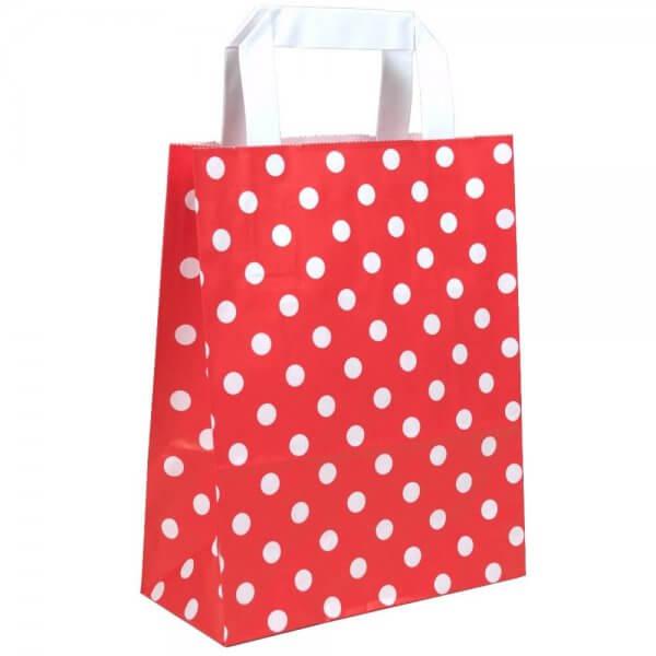 Papiertragetaschen 22 + 10 x 28 Rot gepunktet