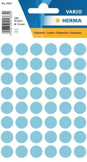 HERMA 1863 Vielzwecketiketten Ø 13 mm rund Papier matt 2400 Stück Blau