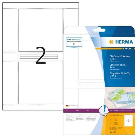 HERMA 4373 CD-Cover-Etiketten A4 1215x1175 mm weiß Papier matt 50 Stück