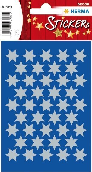 HERMA 3922 10x Sticker DECOR Sterne 6-zackig silber Ø 14 mm