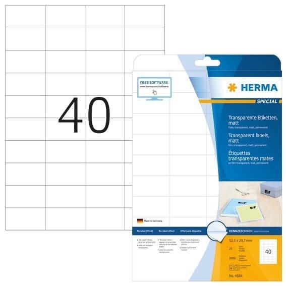 HERMA 4684 Etiketten transparent matt A4 525x297 mm Folie 1000 Stück