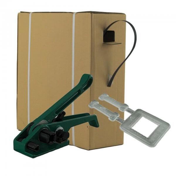 Umreifungsset 12 mm PP Spenderkarton Bandspanner Kunststoffklemmen